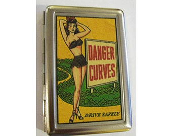 pin up girl metal wallet retro vintage cigarette case ID rockabilly kitsch
