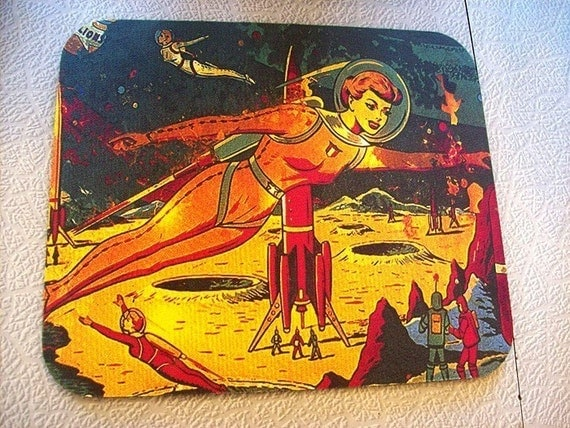Pin up girl mouse pad retro vintage 1950 39 s outer space for Retro outer space
