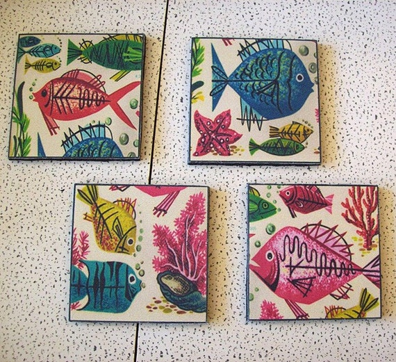cocktail coasters- retro vintage 1950's abstract fish