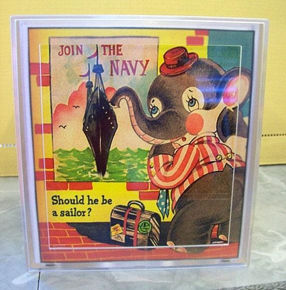retro elephant tissue box cover vintage 1950's  animal cartoon kitsch