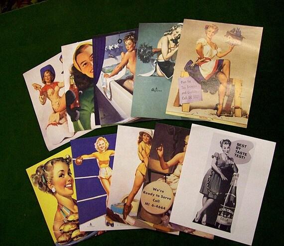 retro pin up girl paper ephemera lot vintage Elvgren 1950's rockabilly craft