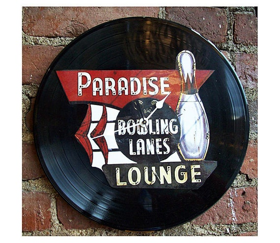 retro bowling clock rockabilly 1950's vintage bowling alley sign mid century kitsch