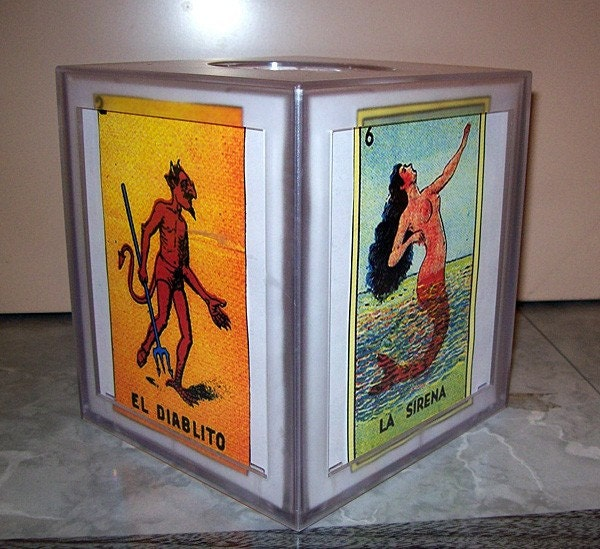 Loteria Tissue Box Cover Retro Vintage Mexico Bathroom Spanish
