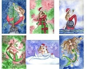 Blank Christmas MERMAID Note Cards from Original Watercolors by Camille Grimshaw