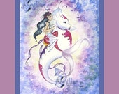 Mermaid and Fancy Sea Horse Print from Original Watercolor Painting by Camille Grimshaw