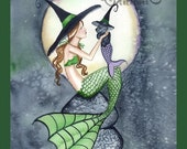 Mermaid Witch with Kitty  from Original Watercolor Painting by Camille Grimshaw