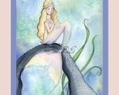 Mermaid and Baby Print from Original Watercolor Painting by Camille Grimshaw