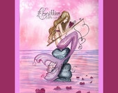 Mermaid Fishing for Love Print from Original Watercolor Painting by Camille Grimshaw