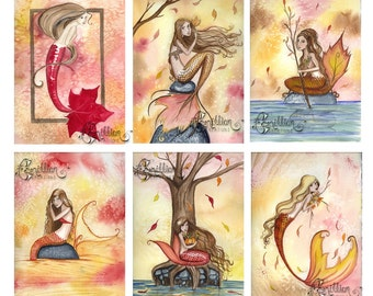 Blank Fall Autumn MERMAID Note Cards from Original Watercolors by Camille Grimshaw