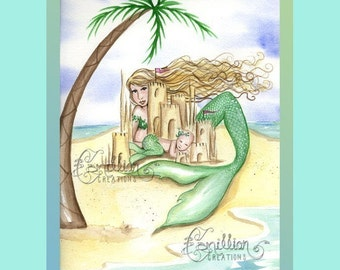 Mermaid, Baby, and Sandcastle on the Beach Print from Original Watercolor Painting by Camille Grimshaw Mermaid Art