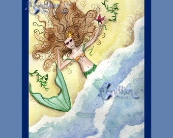 Sunbathing Mermaid on the Beach from Original Watercolor Painting by Camille Grimshaw