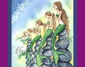 Five Mermaids Family Print from Original Watercolor Painting by Camille Grimshaw Mermaid Art