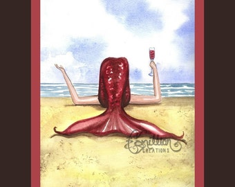 Red Wine Mermaid on the Beach from Original Watercolor Painting by Camille Grimshaw
