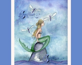 Mermaid and Dragonflies Dragonfly Print from Original Watercolor Painting by Camille Grimshaw