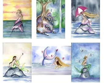Spring Mermaid Note Cards by Camille Grimshaw