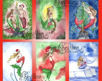Blank Christmas 2 MERMAID Note Cards from Original Watercolors by Camille Grimshaw