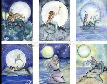 Night MERMAIDS and Moons Blank Note Cards from Original Watercolors by Camille Grimshaw