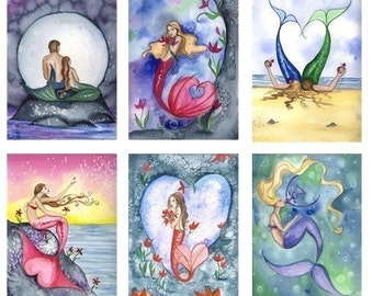 Blank LOVE MERMAIDS Note Cards from Original Watercolors by Camille Grimshaw