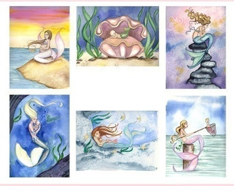 Blank MOTHER and BABY MERMAIDS Note Cards from Original Watercolors by Camille Grimshaw