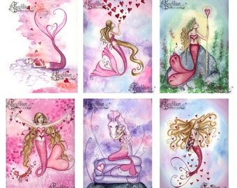 Blank VALENTINE'S DAY 2 MERMAIDS Note Cards from Original Watercolors by Camille Grimshaw