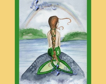CELTIC IRISH MERMAID and Rainbow art print from watercolor art by Camille Grimshaw