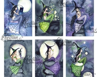 Mer Witches 2 Blank MERMAID Note Cards from Original Watercolors by Camille Grimshaw
