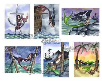 Pirate 2  Blank MERMAID Note Cards from Original Watercolors by Camille Grimshaw