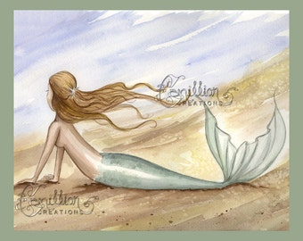 Mermaid on the Windy Beach Print from Original Watercolor Painting by Camille Grimshaw