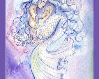 Hold You Forever Mermaid and Baby Print from Original Watercolor Painting by Camille Grimshaw