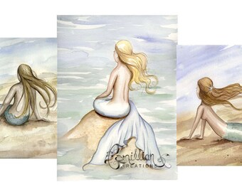 Blank SEASIDE MERMAIDS Note Cards from Original Watercolors by Camille Grimshaw