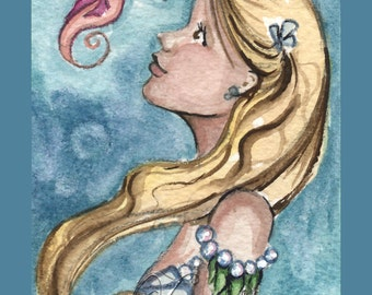 Mermaid & Seahorse Print from Original Watercolor Painting by Camille Grimshaw
