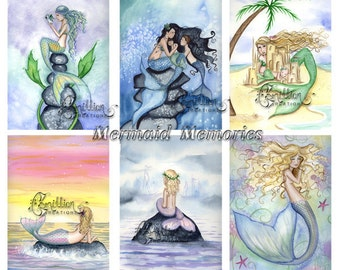 Blank  MERMAIDS Note Cards Mermaid Memories from Original Watercolors by Camille Grimshaw