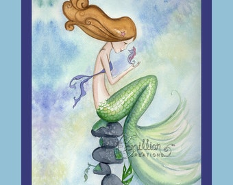 Mermaid Seahorse Hello to You Print from Original Watercolor Painting by Camille Grimshaw