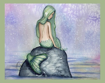 Mermaid Print from Original Watercolor Painting by Camille Grimshaw