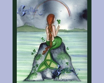 CELTIC IRISH MERMAID and Sharmrocks art print from watercolor art by Camille Grimshaw