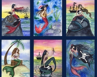Six PIRATE MERMAID Note Cards From Original water by Camilel Grimshaw