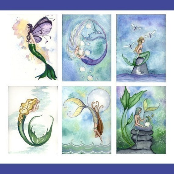 Six MERMAID NOTE CARDS From Original Watercolor by Camille Grimshaw