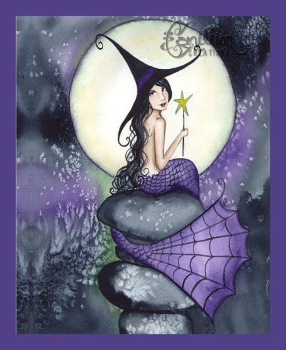 Full Moon Mermaid Witch from Original Watercolor Painting by Camille Grimshaw
