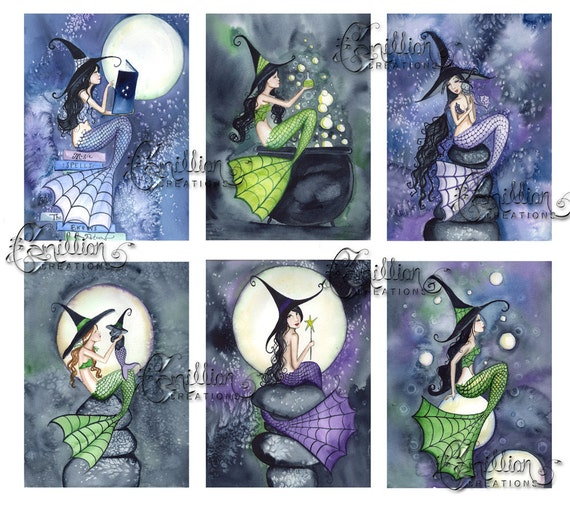 Mer Witches Blank MERMAID Note Cards from Original Watercolors by Camille Grimshaw