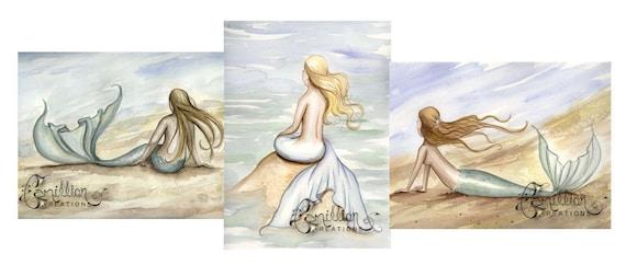 Blank SEASIDE MERMAIDS Note Cards from Original Watercolors by Camille Grimshaw