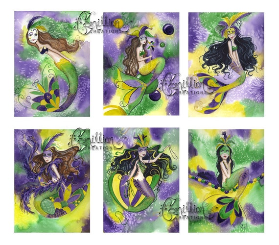 Blank  MERMAIDS Note Cards Mardi Gras  from Original Watercolors by Camille Grimshaw