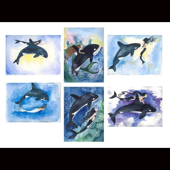 Blank Orca Killer Whale MERMAIDS Note Cards from Original Watercolors by Camille Grimshaw