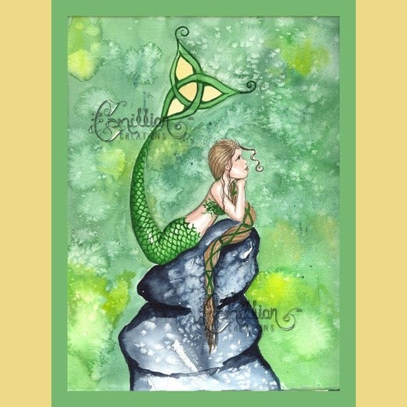 Green Sky Celtic Knot Irish Mermaid Print from Original Watercolor Painting by Camille Grimshaw