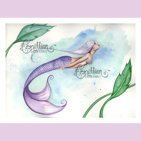 Swimming Purple Mermaid on the Beach from Original Watercolor Painting by Camille Grimshaw