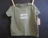 Happy Camper // Hand Printed // Olive Green 18 month T Shirt Camping