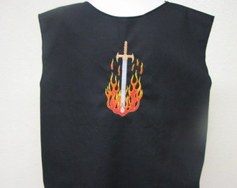 Medieval Knights Surcoat Tabard Tunic with embroidered Flaming Sword Crest