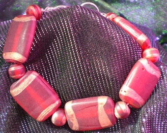 Red and Gold Clouded Bracelet