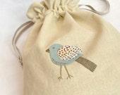 Handy bird - hand embroidered drawstring bag