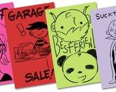 Black Friday Etsy Mini Comic Bundle 2: four black and white mini comics