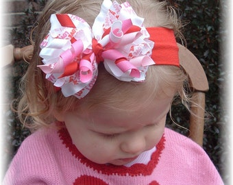 Valentines Day headband, red baby headband, infant headbands, korker hair bows, little girl bows, hair bows for girls, Valentine hair clips